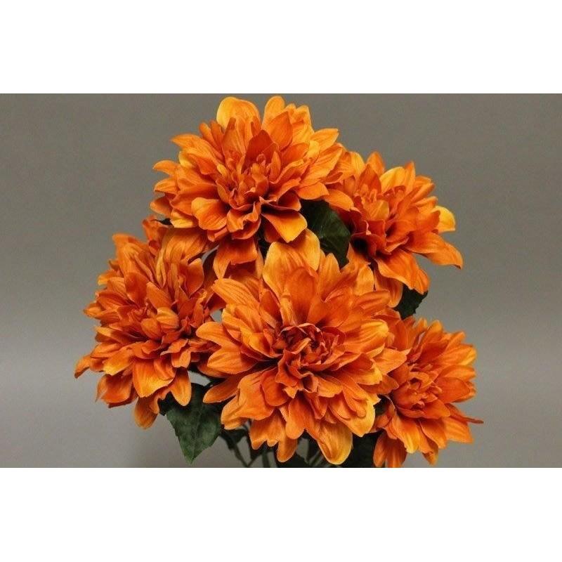 Piquet dahlia x7 de couleur orange H55cm