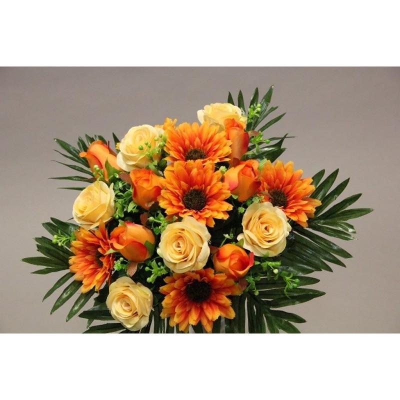 Piquet de rose gerbera orange H35cm