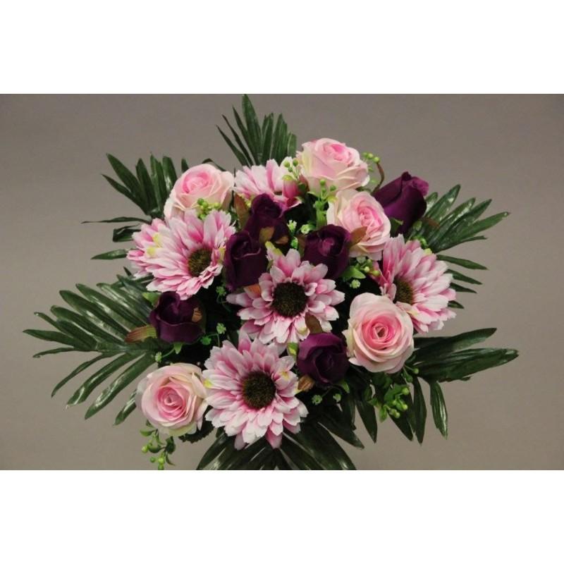 Piquet de rose gerbera rose H35cm