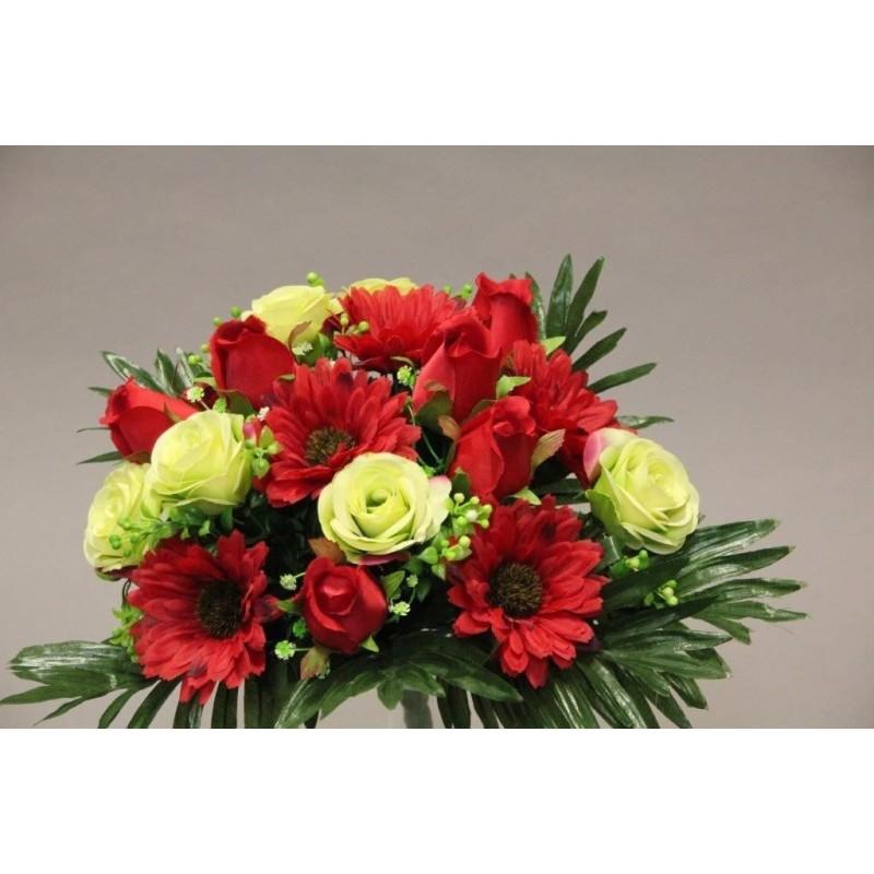 Piquet de rose gerbera rouge H35cm