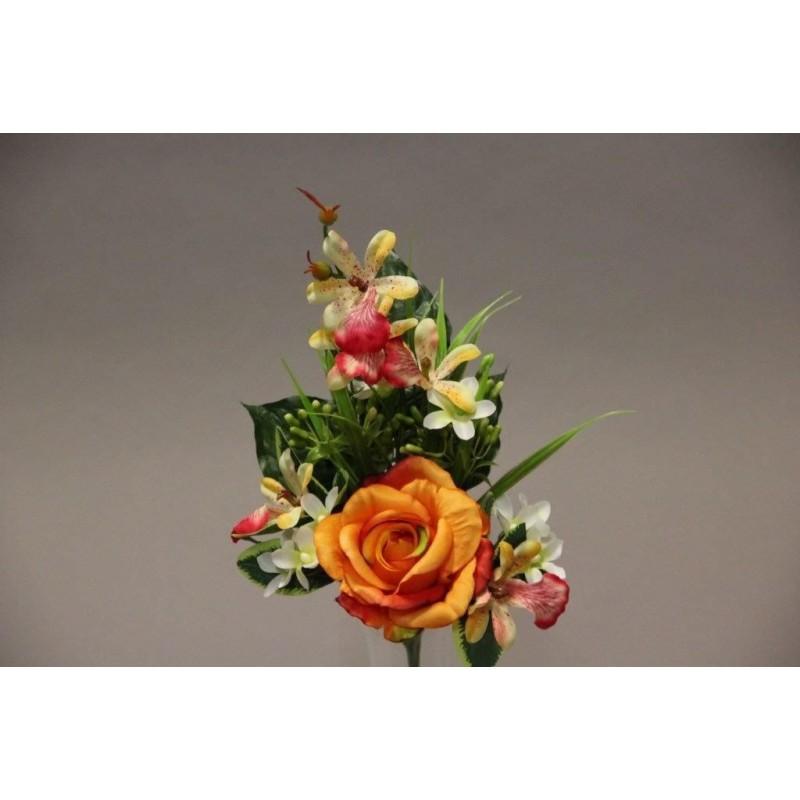 Piquet de rose orchidée artificiel Orange H37cm