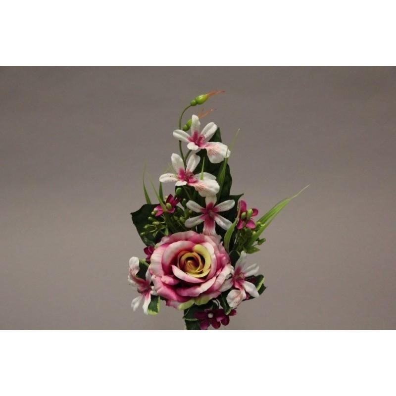 Piquet de rose orchidée artificiel Rose H37cm