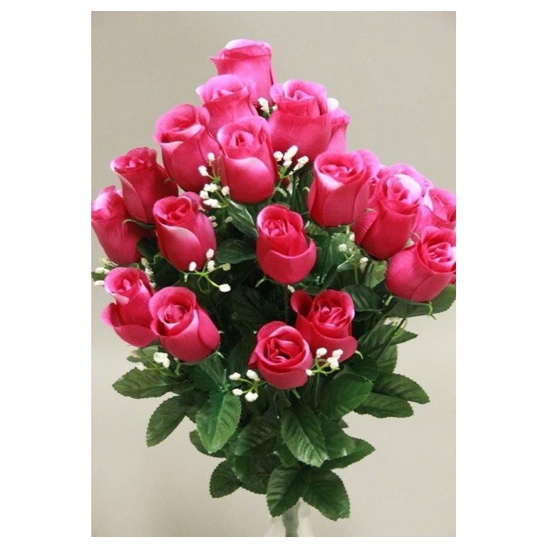 Boutons de roses gyspo artificiels Fuschia H56cm