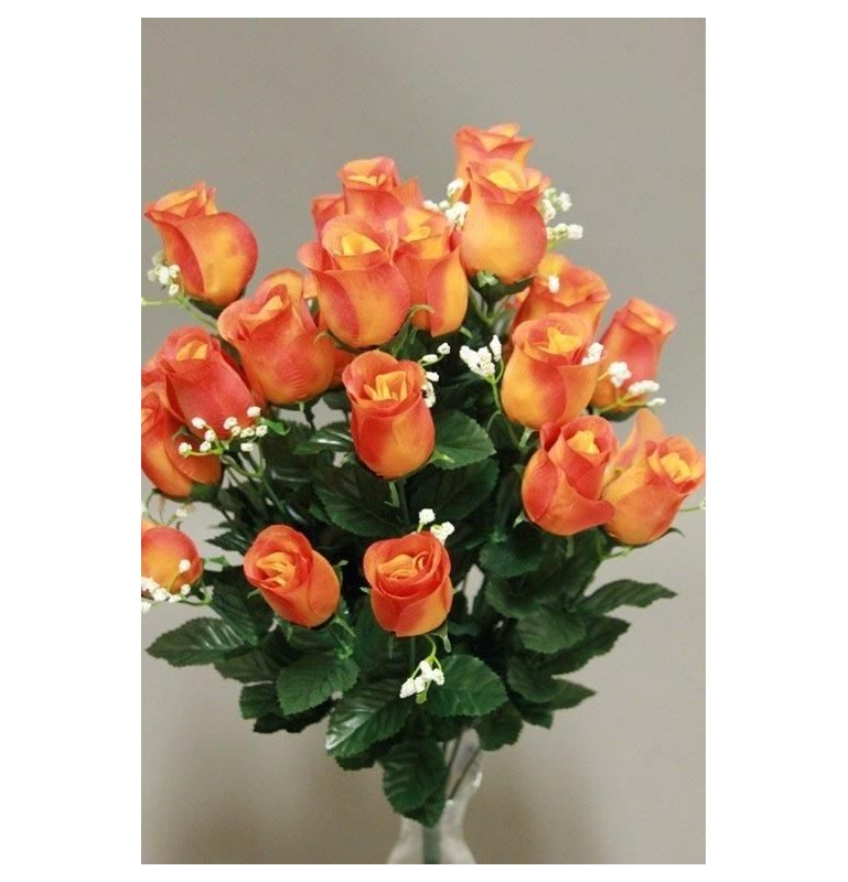 Boutons de roses gypso orange x24