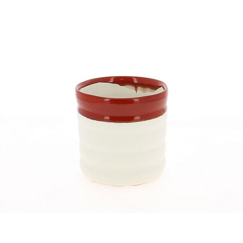 Cache pot rouge et blanc ø14 cm H14 cm