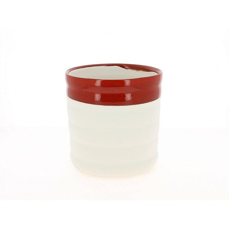 Cache pot rouge et blanc ø20 cm H20 cm