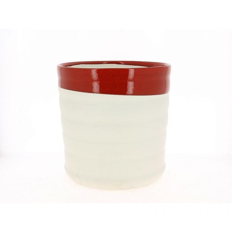 Cache pot rouge et blanc ø28 cm H28 cm