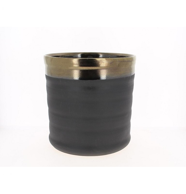 CACHE POT_NOIR ET OR_Diam 28_H28cm_18NO2004-GD