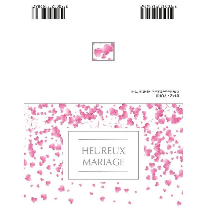 CARTE DOUBLE PLIEE x10pcs_HEUREUX MARIAGE_8142