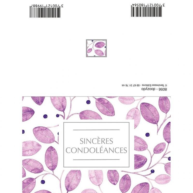 CARTE DOUBLE PLIEE x10pcs_SINCERES CONDOLEANCES_8056