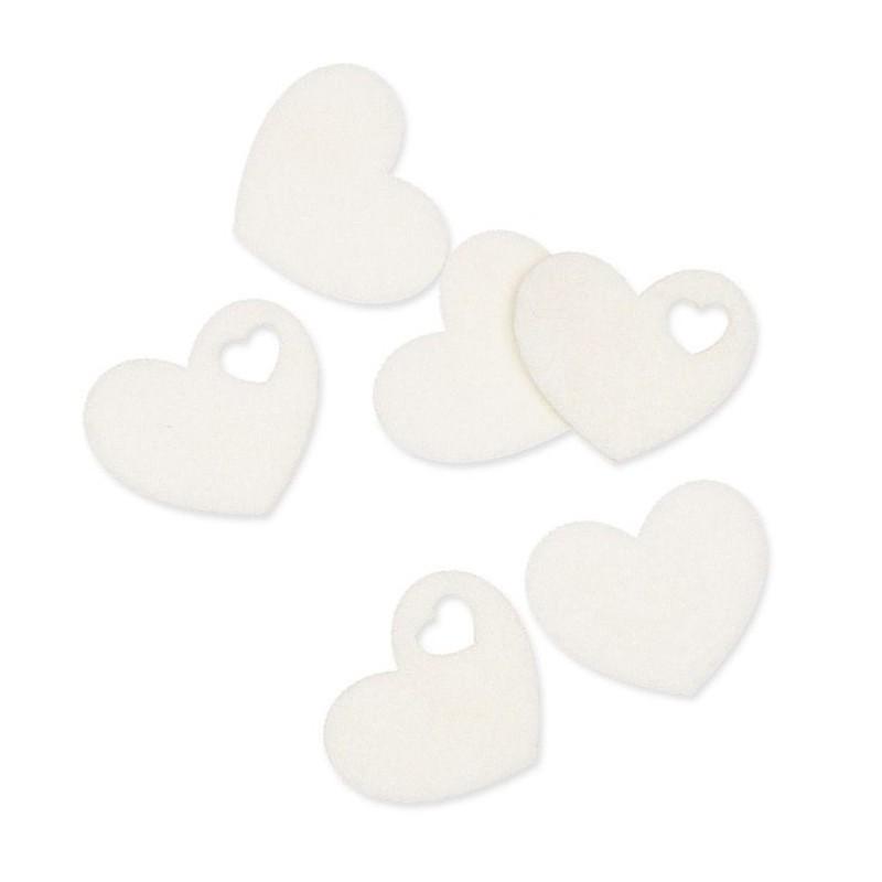 Coeur en feutrine blanc sachet de 48 pcs