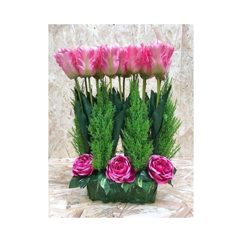 COMPOSITION FUNERAIRE JARDINIERE TULIPE LESTEE ROSE
