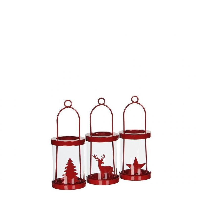 Lanterne rouge H11 cm en ø8,5 cm