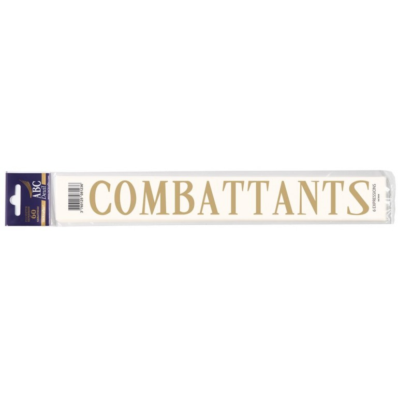 """MOT DECALCOMANIE POUR RUBAN MORTUAIRE """"COMBATTANTS"""""""