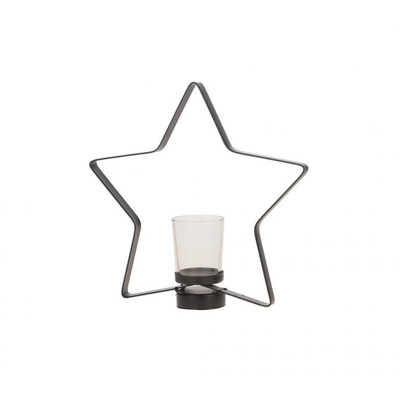 Photophore étoile en métal 24,5x5,5x23,5 cm