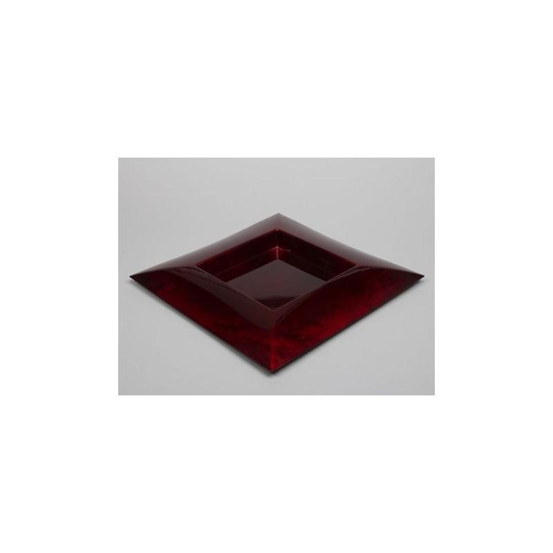 PLATEAU PLASTIQUE CARRE_ROUGE_40x40x4,5cm_223480