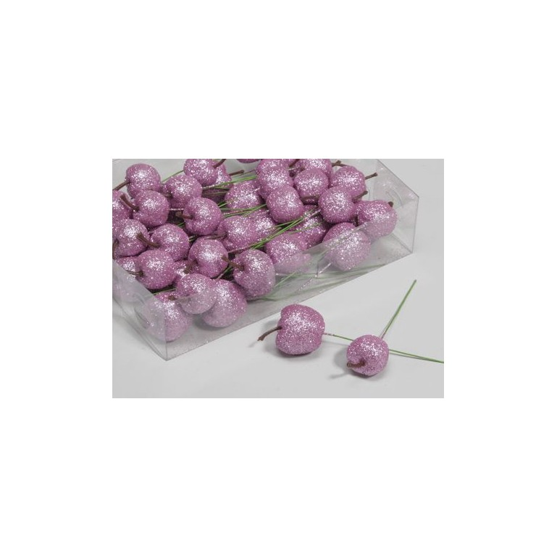 Pommes pailletées sur pic rose 35mm boîte de 48 pièces