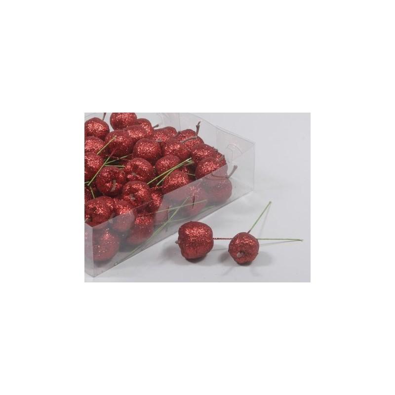 Boîte de 48 pommes sur piques pailletées rouge