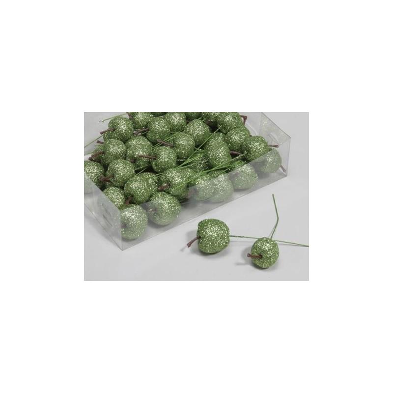 Pommes pailletées sur pic 35mm coloris vert