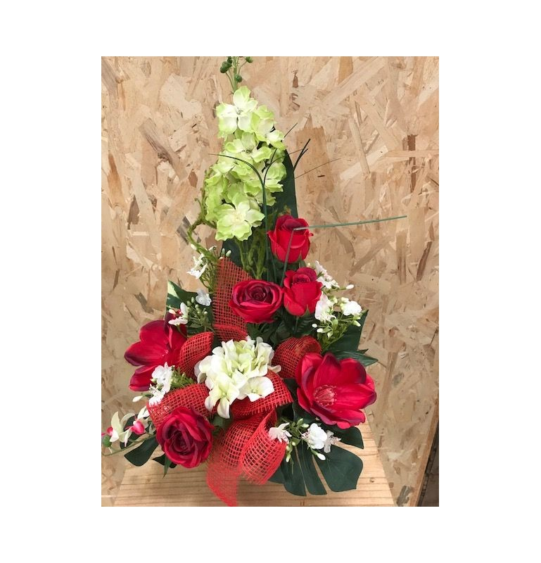 POTEE GIROFLEE_COMPOSITION FLORALE FUNERAIRE_POTEE LESTEE_ ROUGE_PO1GM_R