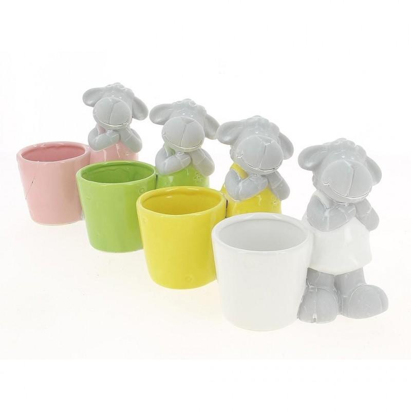 Pot mouton de 4 couleurs différentes ø8x7,5x14,5cm