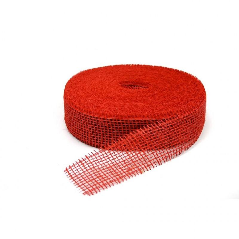 Ruban jute rouge foncé 5 cm x 40 m