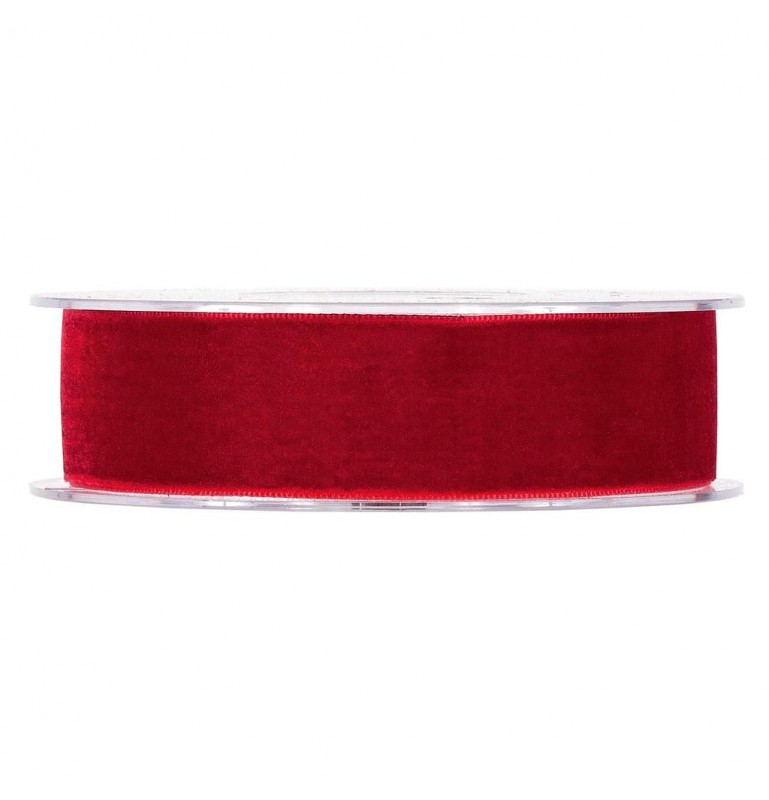 Ruban velours rouge 25 mm x 9 m