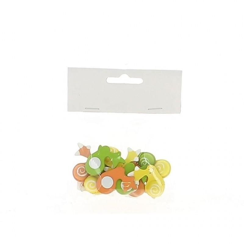 Sachet de 12 autocollants escargots orange/jaune/vert en 3,5 cm