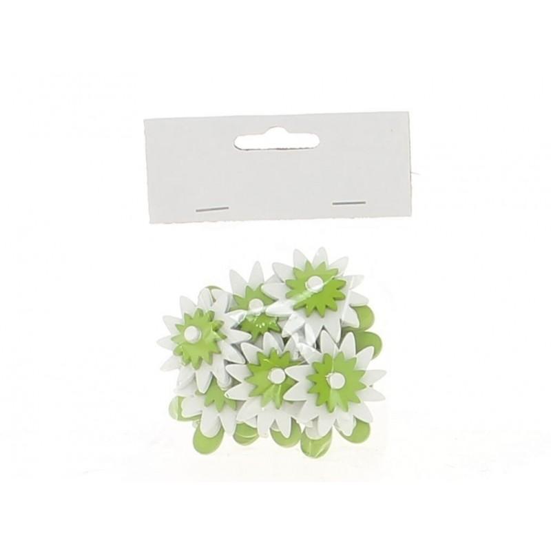 Sachet de 12 fleurs vertes en 3,5cm