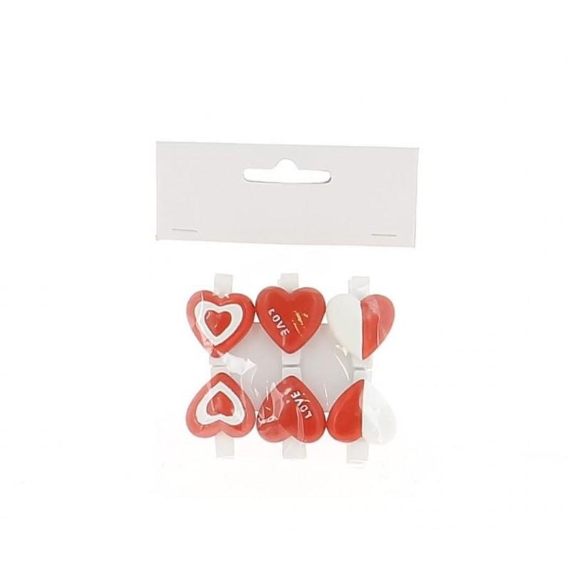 Sachet de 2 modèles coeur  3,5x3 cm par 6 pinces