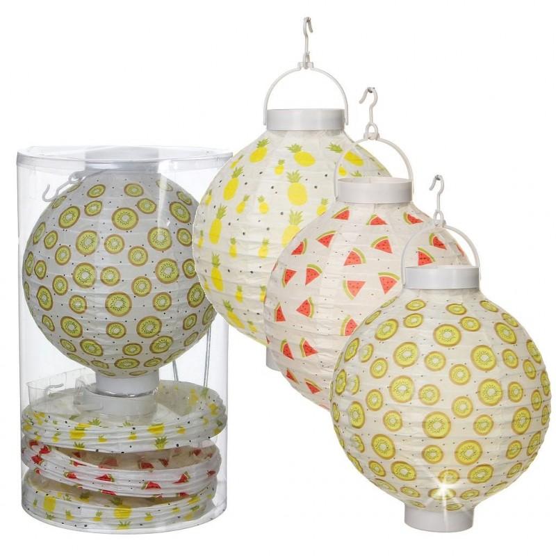 Lanterne chinoise en papier avec LED par lot de 4 pièces
