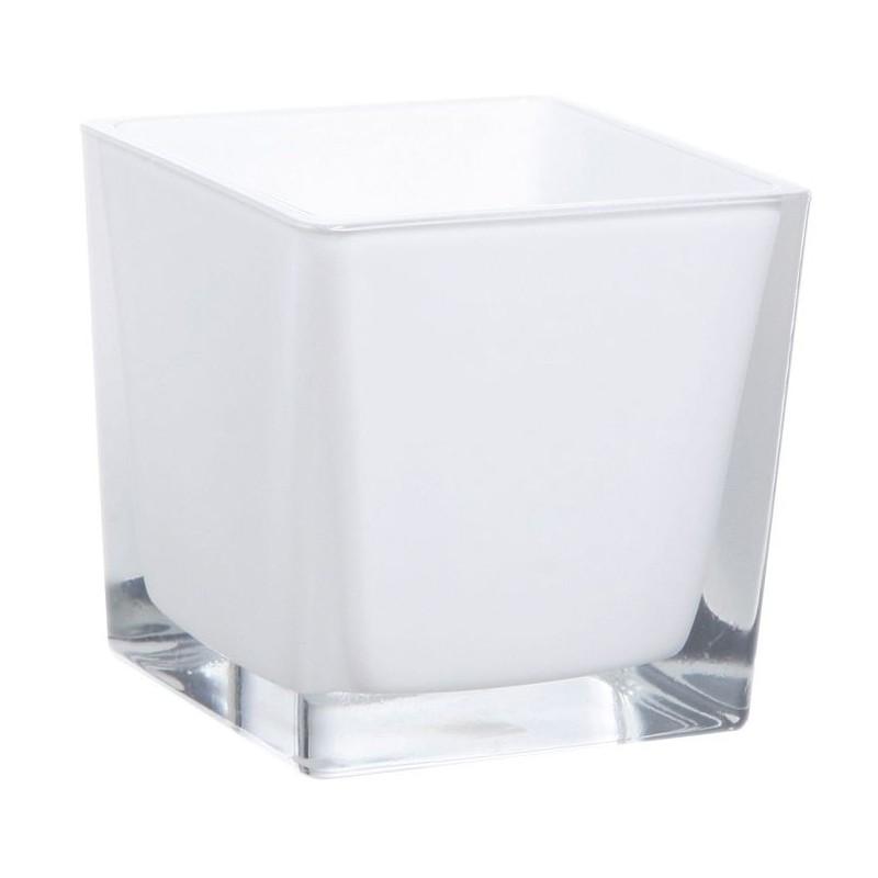 Cube verre 8x8cm Blanc