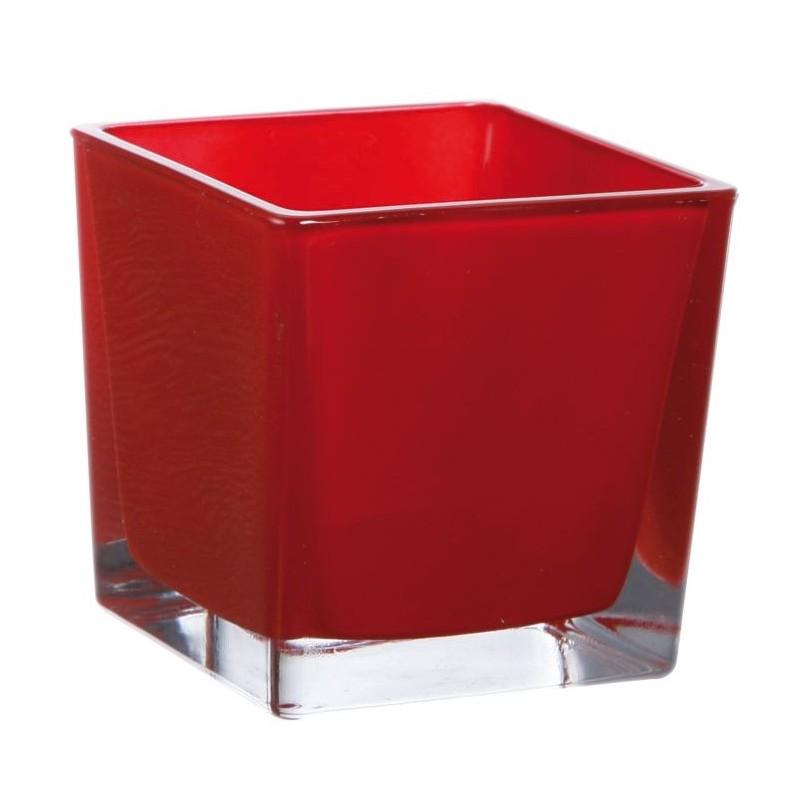 Cube verre 8x8cm Rouge