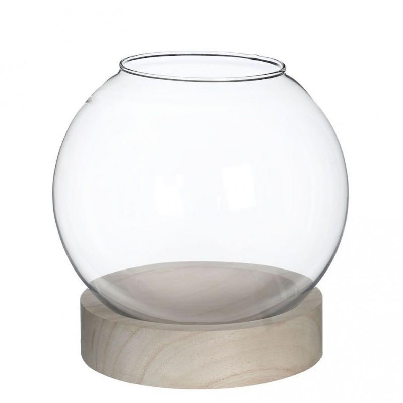 Globe en verre sur base en bois ø20cm H21cm Transparent