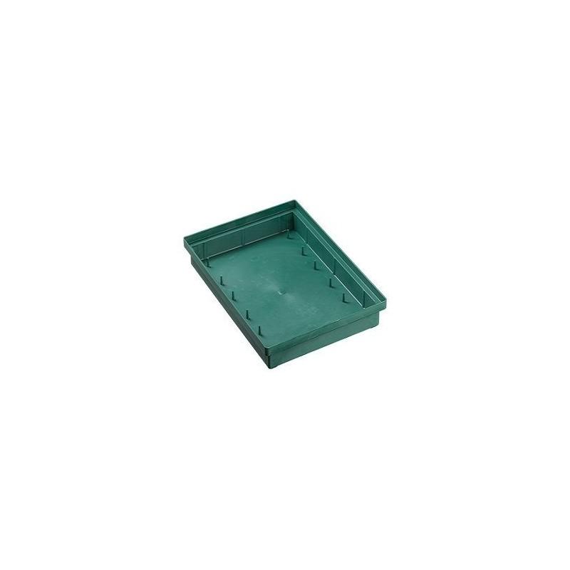 BAC PLASTIQUE RECTANGLE VERT x6pièces 23x22xH4,5cm