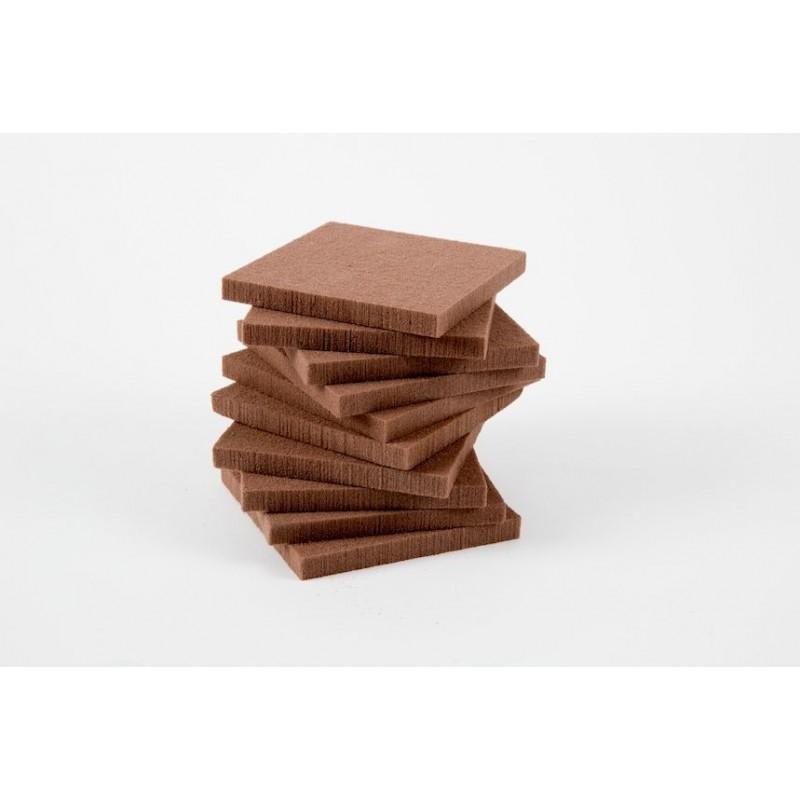 PAQUET DE 10 FEUILLES DE MOUSSE FLORALE CHOCOLAT 10x10x1cm_25-00214