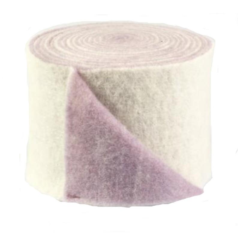 Rouleau laine - feutrine bicolore en 15 cm coloris blanc et mauve