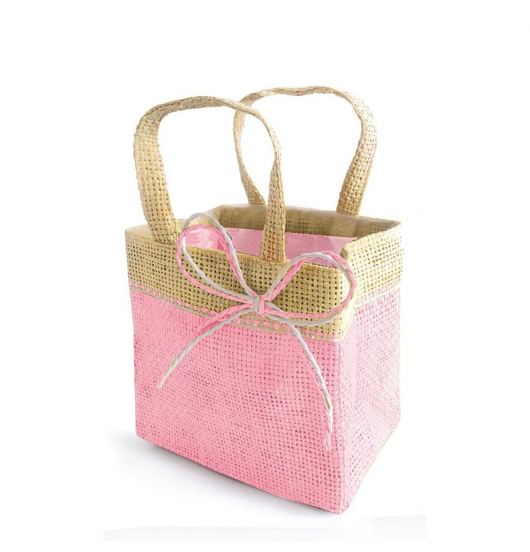 SAC IMITATION JUTE FIJI ROSE MODELE MEDIUM