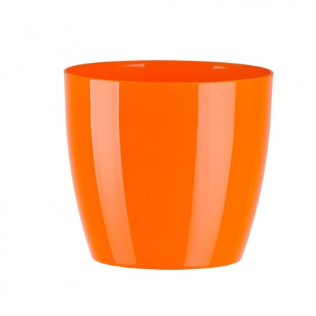 "Cache pot en plastique ""Aga"" couleur orange Ø9,5cm H9cm"