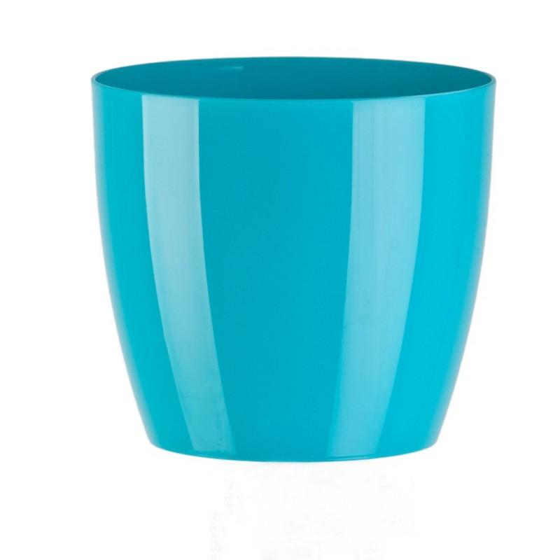 """Cache pot en plastique """"Aga"""" couleur turquoise Ø9,5cm H9cm"""