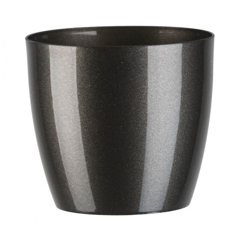 """Cache pot en plastique """"Aga"""" couleur gris graphite Ø9,5cm H9cm"""