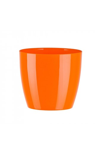 "Cache pot en plastique ""Aga"" couleur orange Ø12cm H11cm"