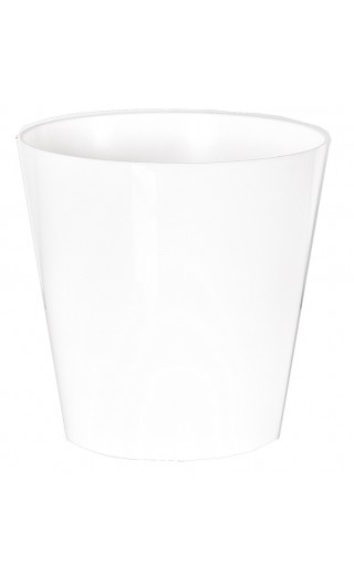 "Cache pot en plastique ""Simple"" couleur blanc Ø8,5cm H9cm"