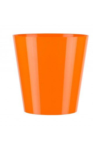 "Cache pot en plastique ""Simple"" couleur orange Ø8,5cm H9cm"