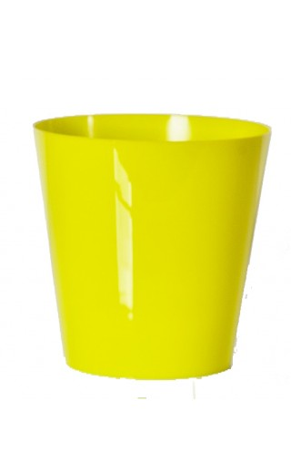 "Cache pot en plastique ""Simple"" couleur vert lime Ø8,5cm H9cm"