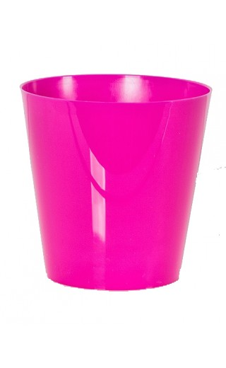 "Cache pot en plastique ""Simple"" couleur fuchsia Ø8,5cm H9cm"