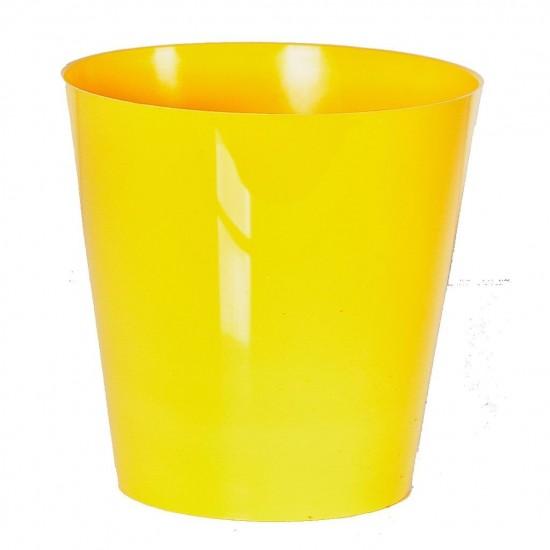 """Cache pot en plastique """"Simple"""" couleur jaune Ø21cm H21cm"""