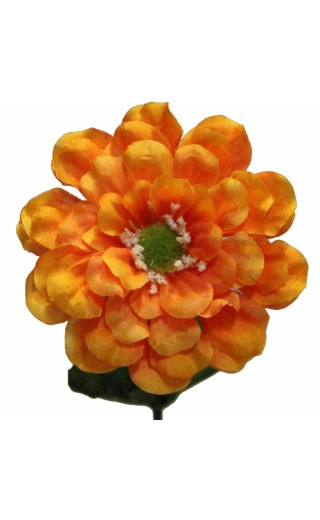 Fleur zinnia artificielle couleur orange botte de 6 tiges