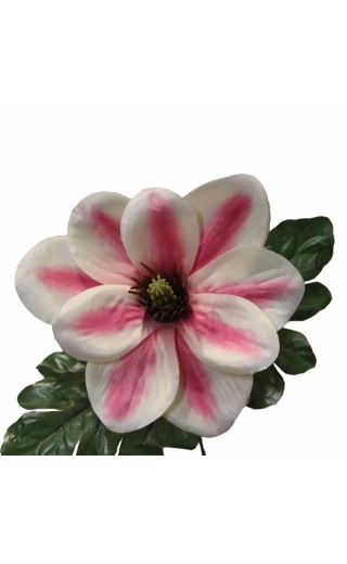Fleur de magnolia artificielle couleur rose botte de 6 tiges