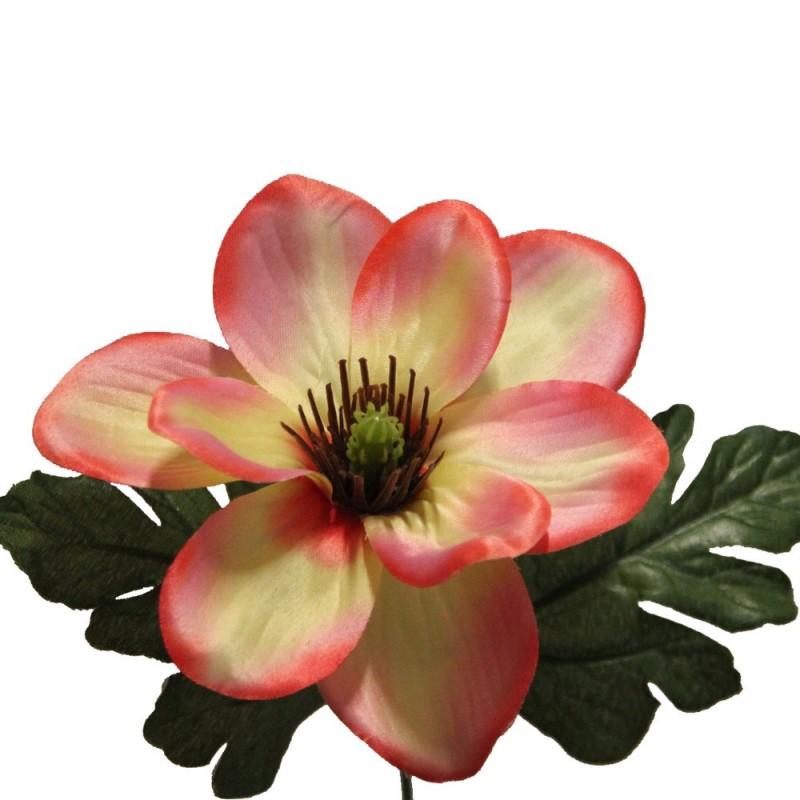 Fleur de magnolia artificielle couleur saumon botte de 6 tiges